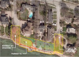 """Council voted to retain """"windows"""" at Market/St Paul but sell """"parkette"""" between them."""
