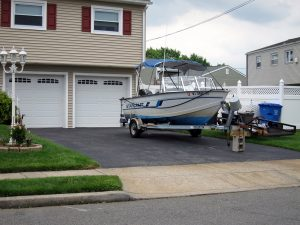 boat in driveway