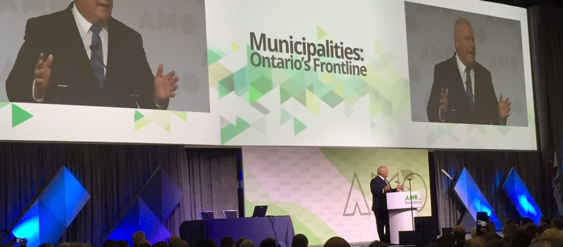 Ontario Premier Doug Ford speaks at the 2019 AMO Conference in Ottawa.
