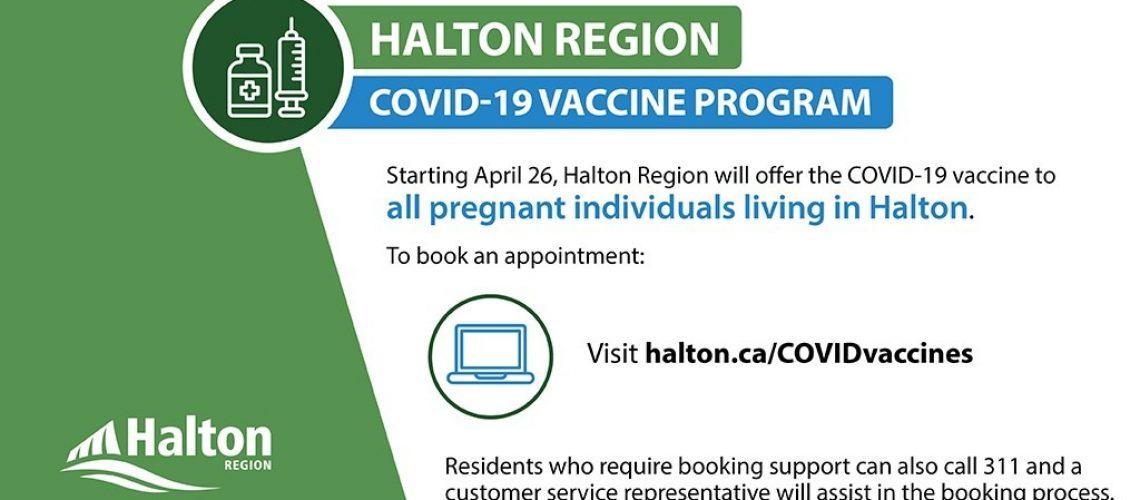 Halton Region vaccines for pregnant women April 26 2021