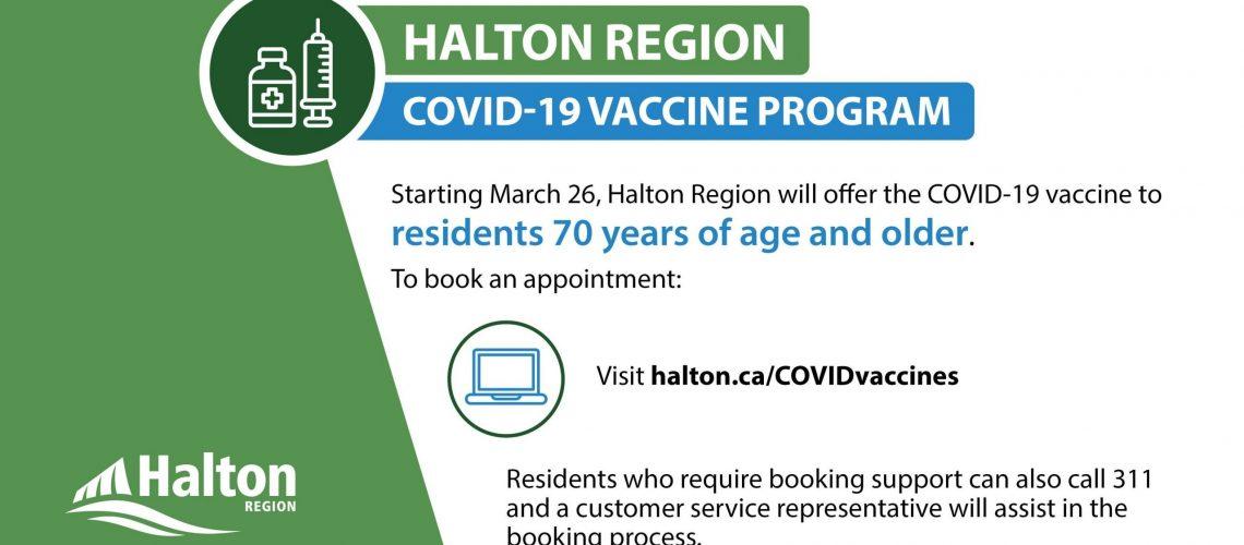 Halton Vaccine for 70 plus
