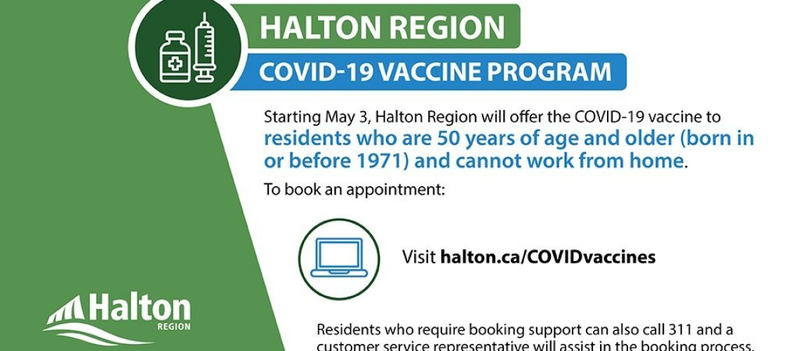 Halton vaccines for 50 plus cannot work from home
