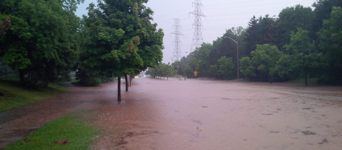 Image of the effects of the 2014 flood on Upper Middle Road in Burlington. / City of Burlington photo