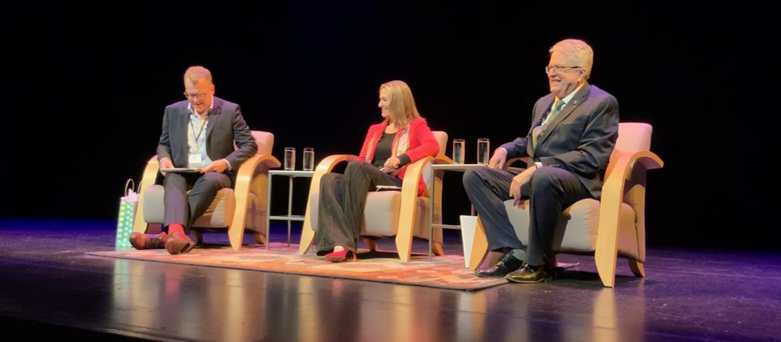 From left, Roland Tanner of Engaged Citizens of Burlington and moderator, Burlington Mayor Marianne Meed Ward and Oakville Mayor Rob Burton at the Burlington Performing Arts Centre.